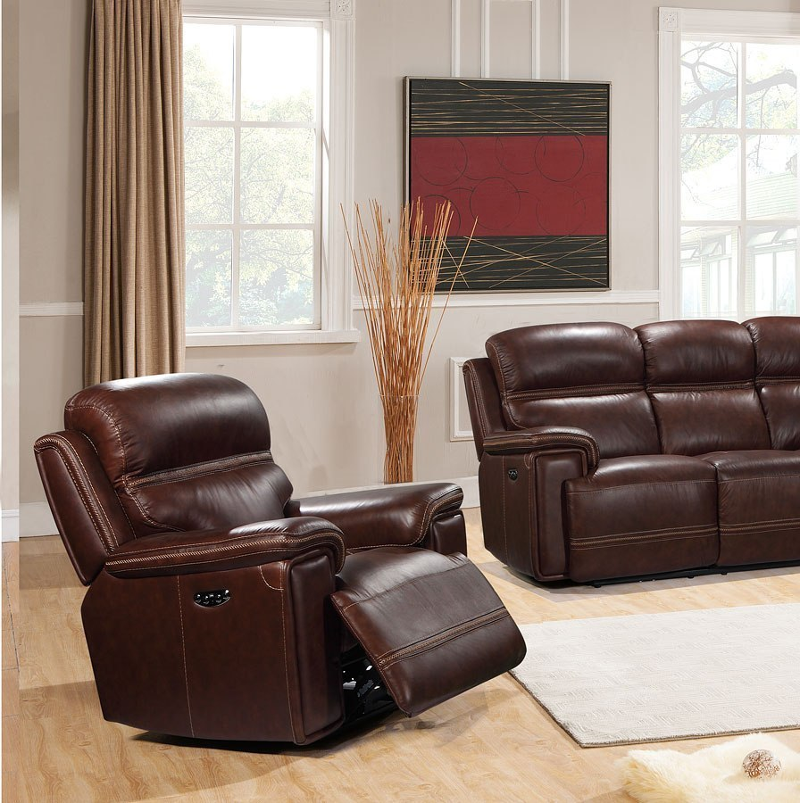 Ashley Furniture In Fresno Ca: Fresno Power Recliner W/ Power Headrest Leather Italia
