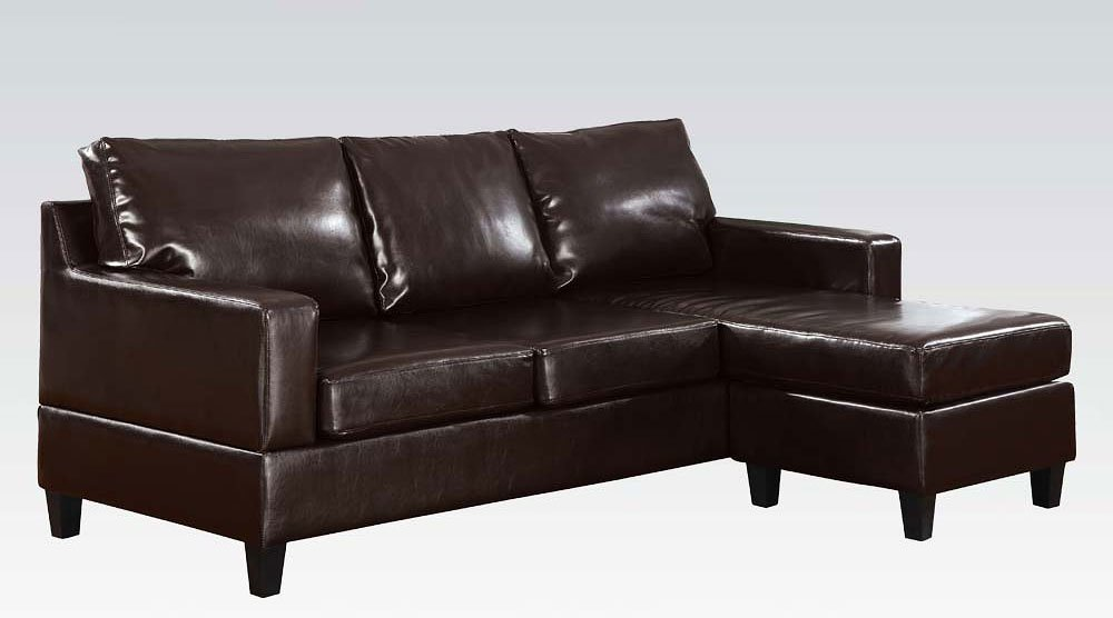 Vogue Reversible Chaise Sectional Espresso Acme Furniture Cart