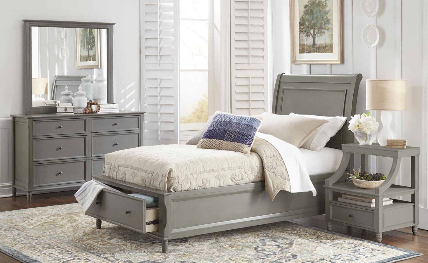 Avignon youth storage bedroom set grey jofran furniture - Youth bedroom furniture with storage ...