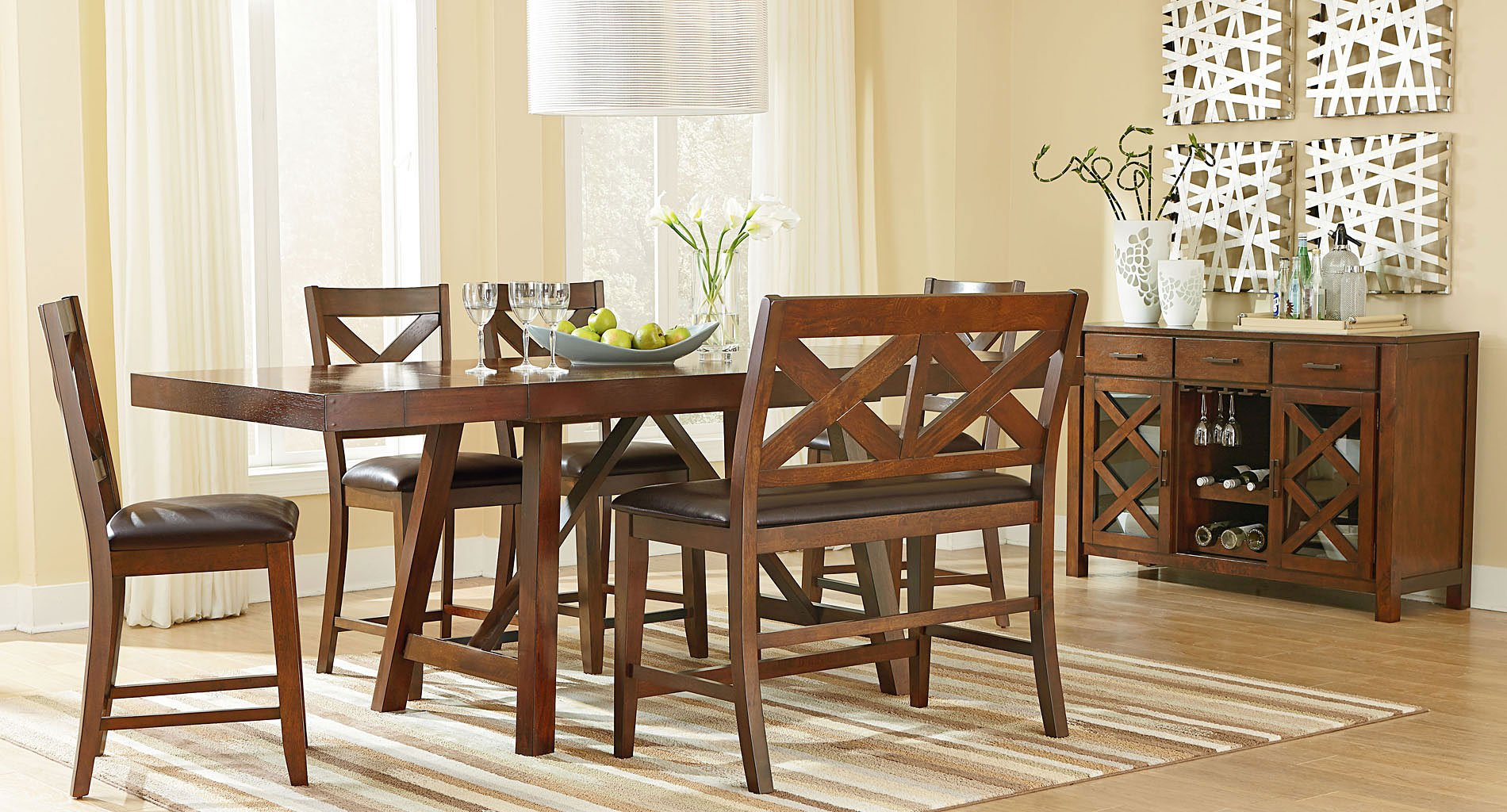 omaha counter height dining set w bench brown standard
