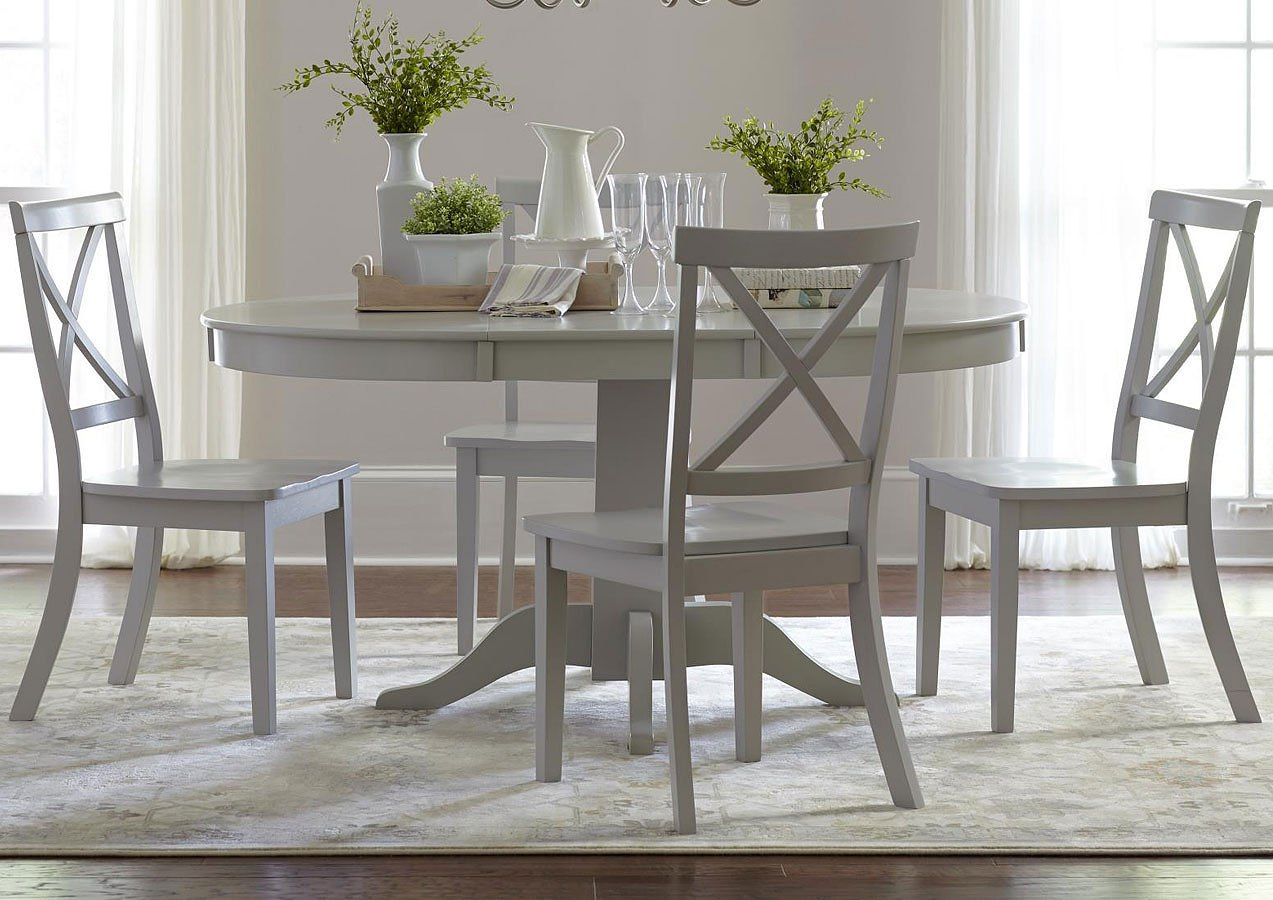 Everyday Clics Round To Oval Dining Set W X Back Chairs Dove