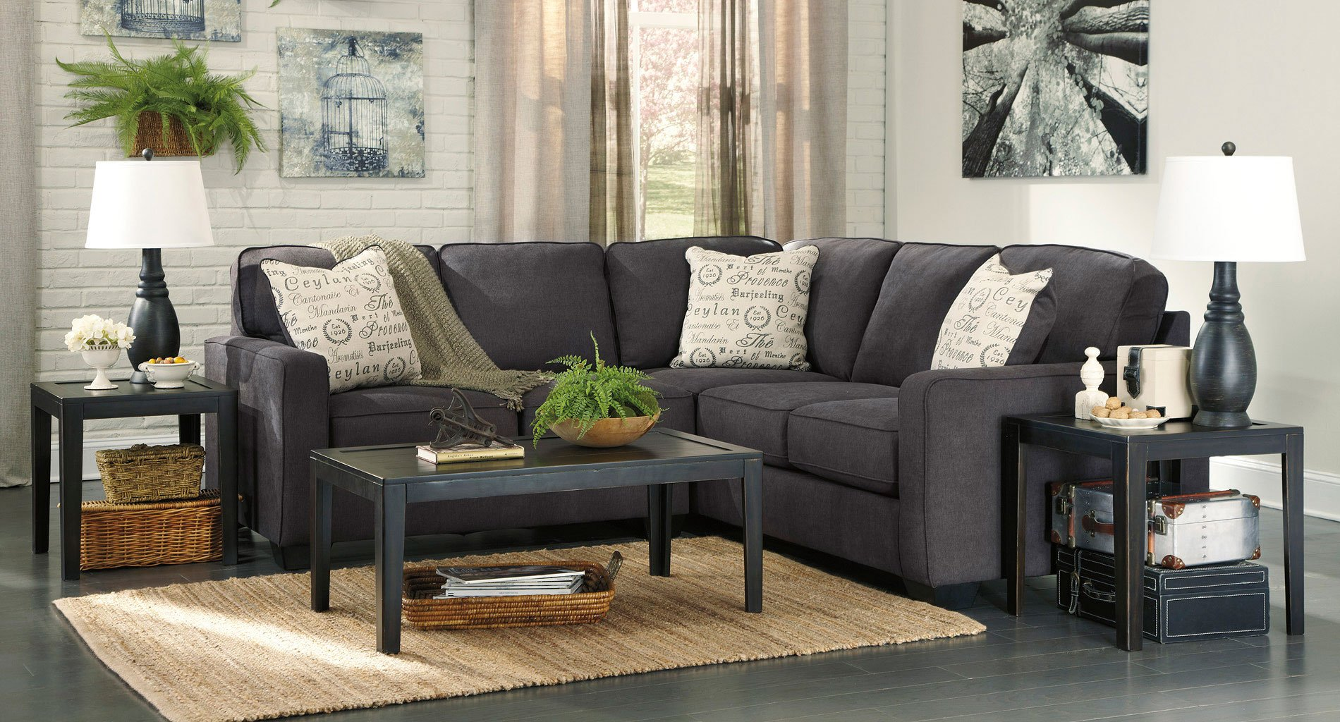 Alenya Charcoal Sectional Set Signature Design Furniture
