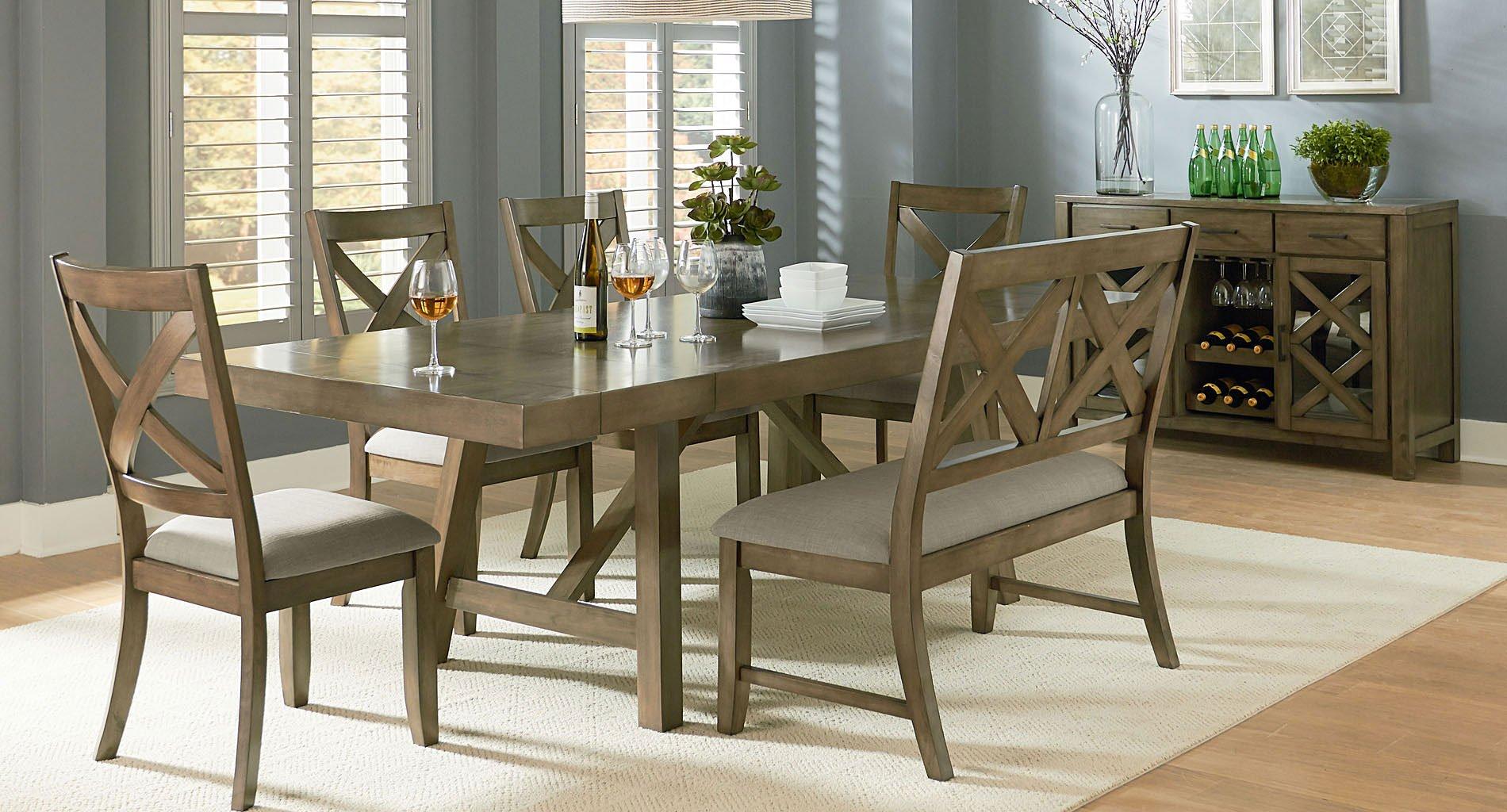 omaha dining room set w x back bench grey standard furniture furniture cart. Black Bedroom Furniture Sets. Home Design Ideas