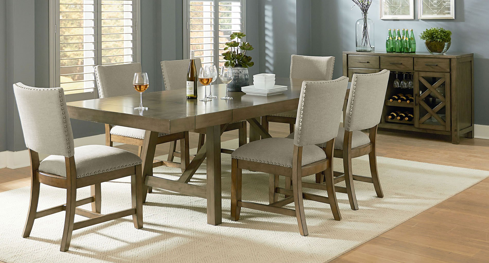 Grey Dining Room Chairs: Omaha Dining Room Set W/ Upholstered Chairs (Grey