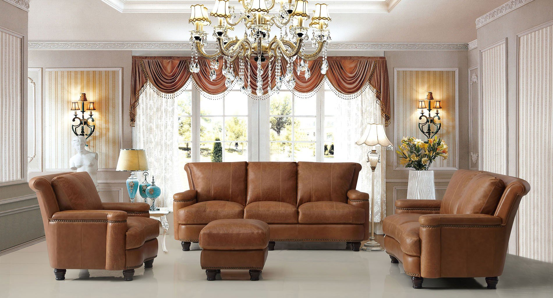 Hutton Leather Living Room Set (Saddle)