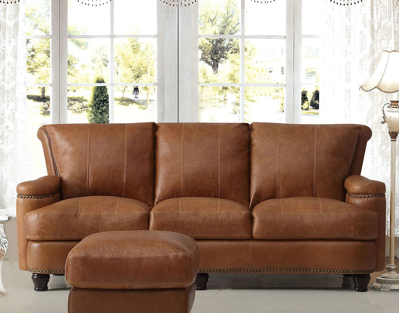 Hutton Leather Sofa (Saddle)