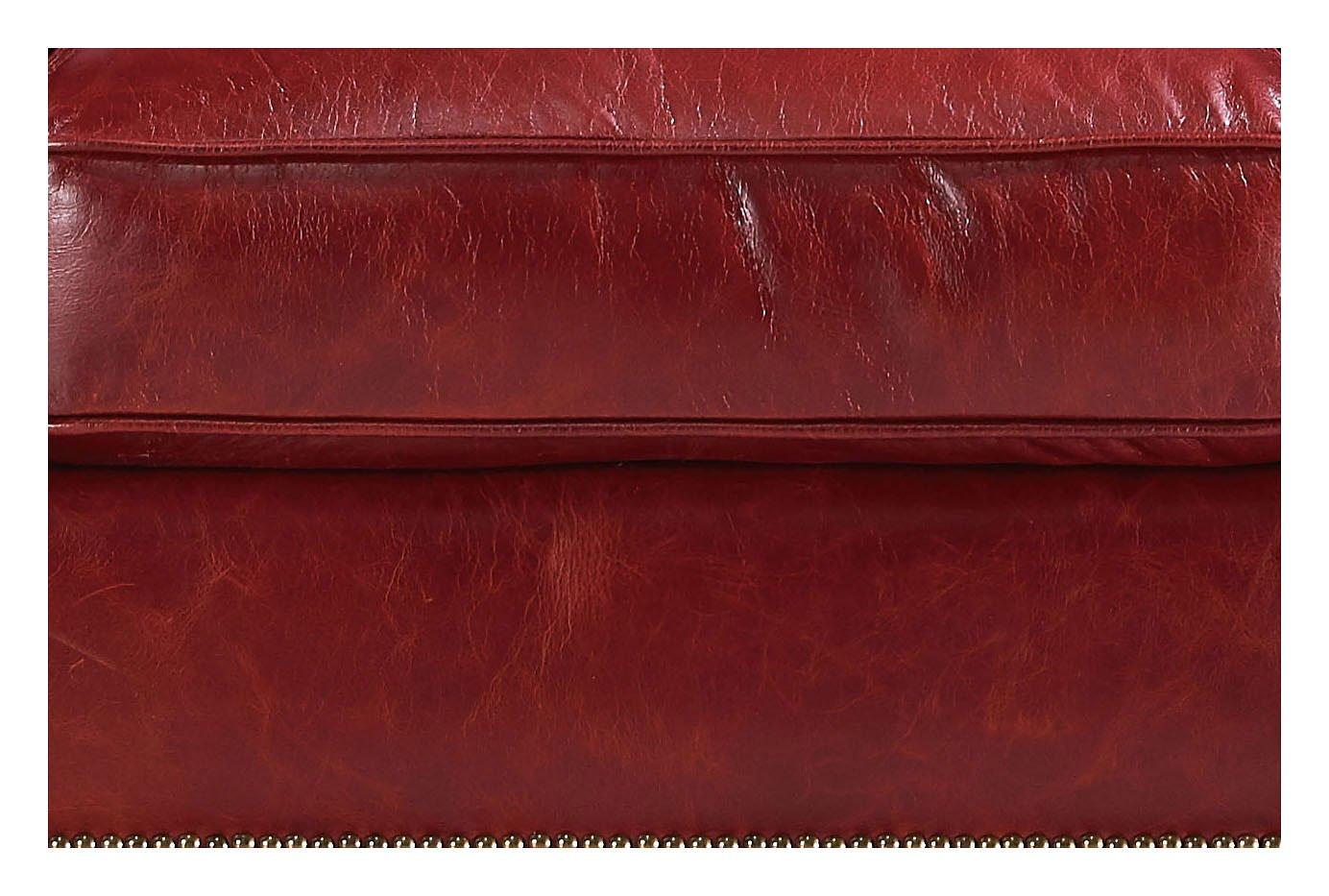 Oakridge Leather Ottoman Red Leather Italia Furniture Cart