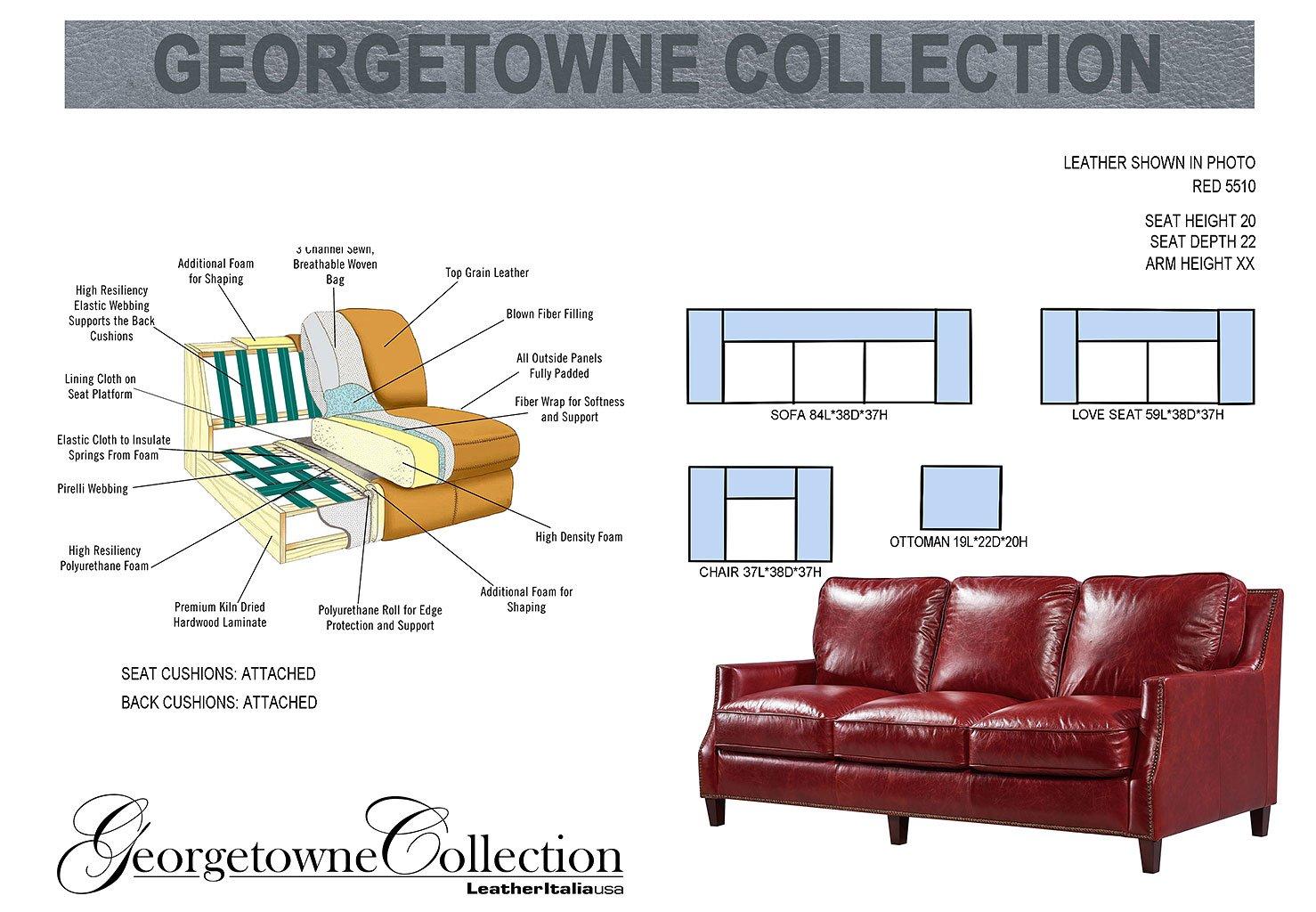 Oakridge Leather Living Room Set (Red) Leather Italia   Furniture Cart