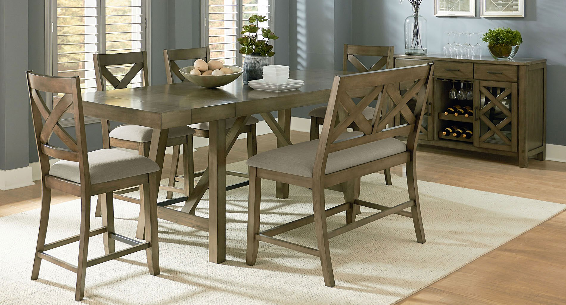 Astounding Omaha Counter Height Dining Set W X Back Bench Grey Beatyapartments Chair Design Images Beatyapartmentscom