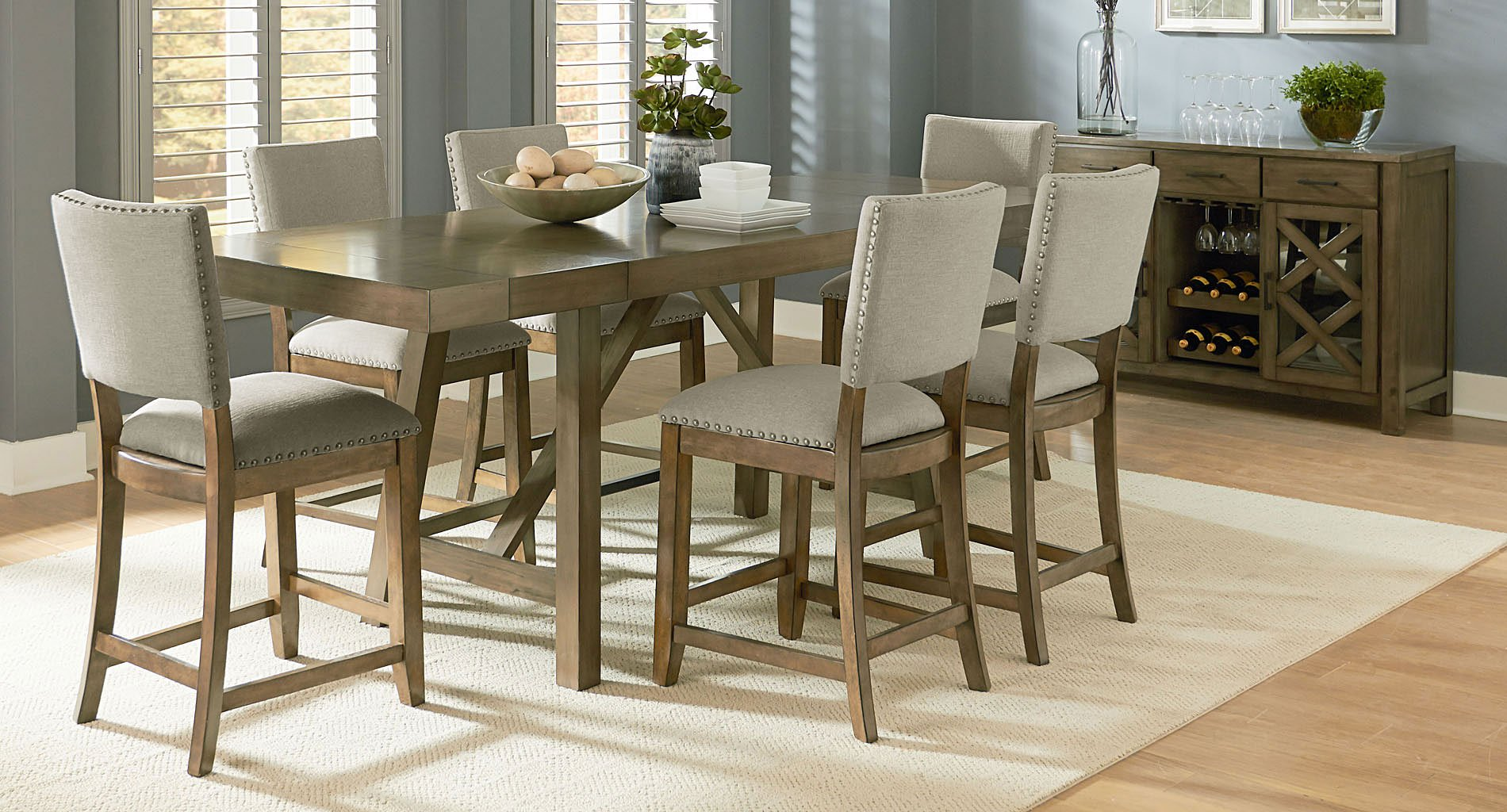 Omaha Counter Height Dining Set W Upholstered Chairs