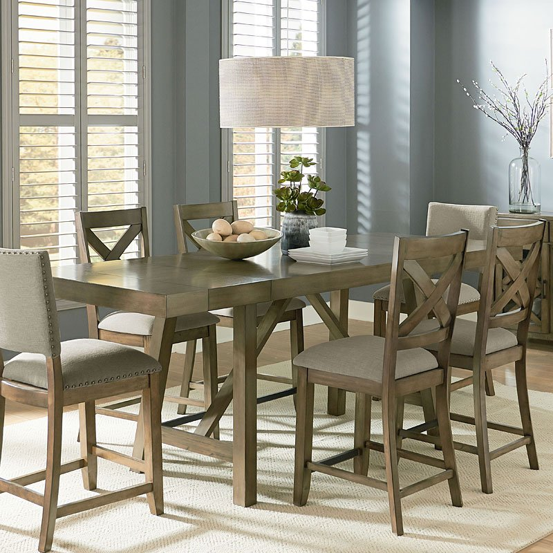 Omaha Counter Height Dining Set W X Back Chairs Grey