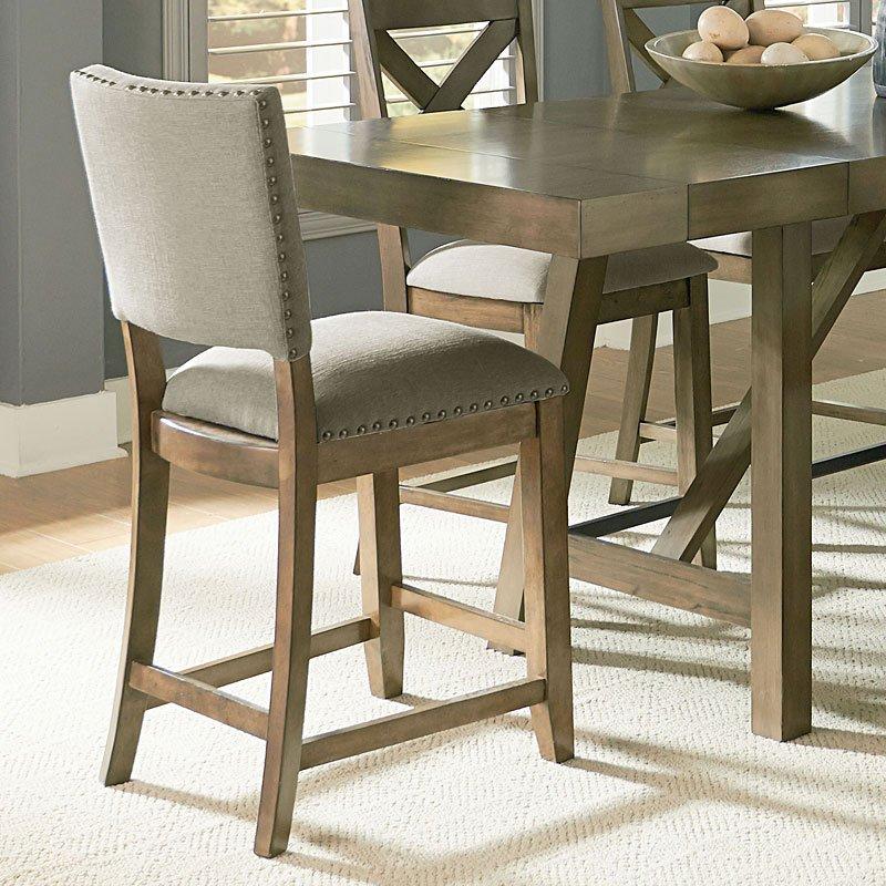 Ashley Furniture Omaha Ne: Omaha Upholstered Counter Height Chair (Grey) (Set Of 2