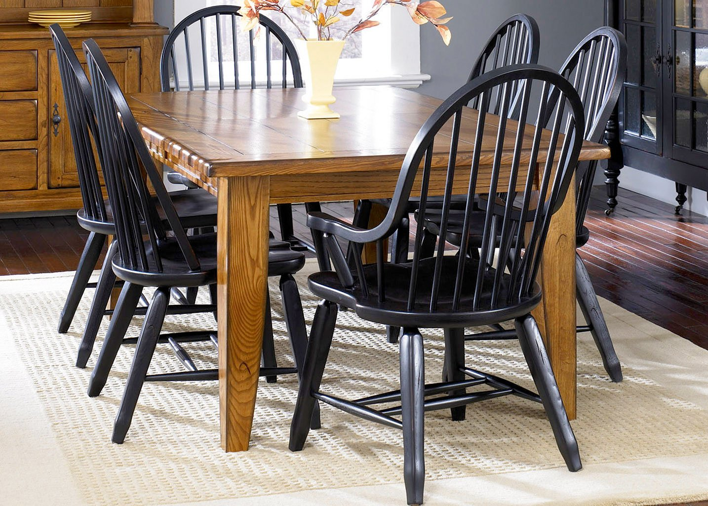 treasures dining room set w black chairs liberty furniture furniture cart. Black Bedroom Furniture Sets. Home Design Ideas