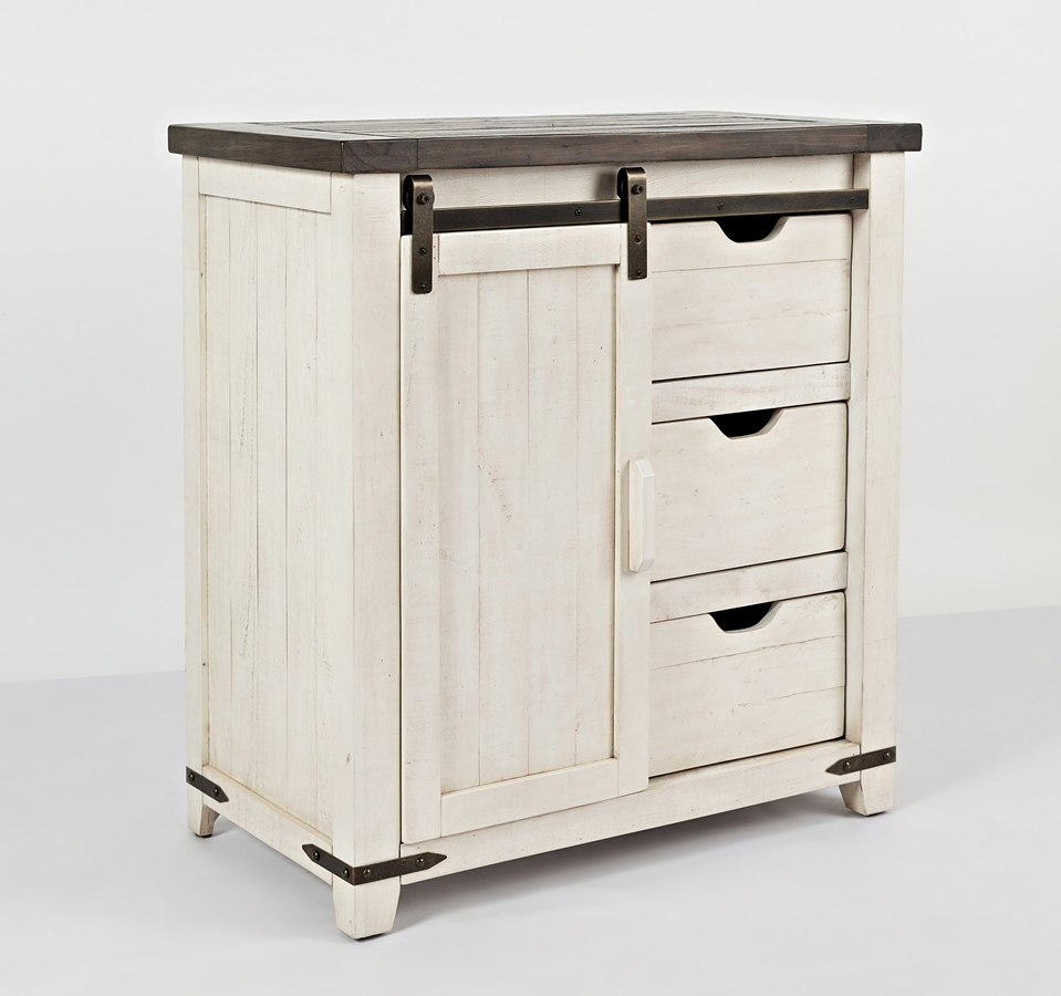 Madison Country Barn Door Accent Cabinet (Vintage White)