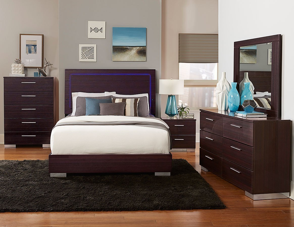 Moritz Low Profile Bedroom Set W/ LED Lighting