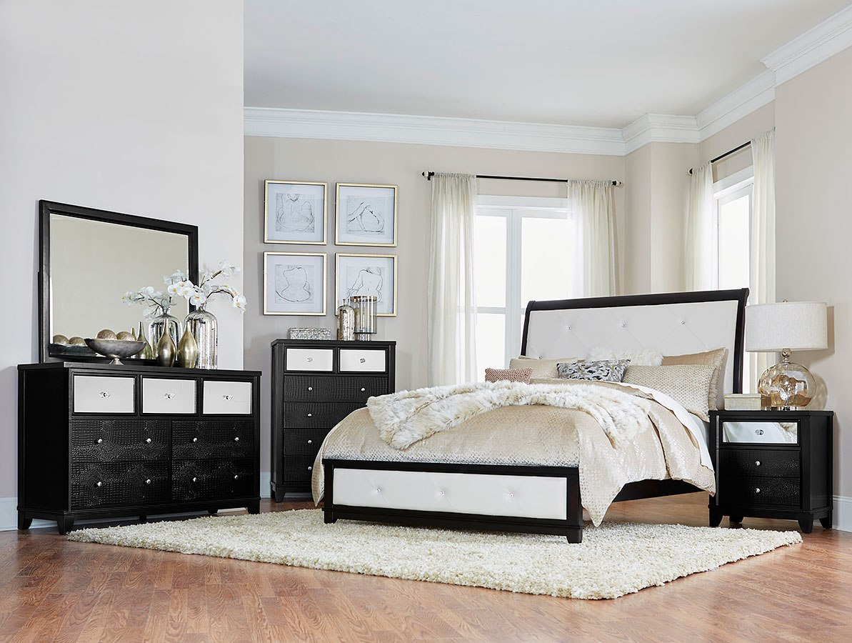 Odelia Sleigh Bedroom Set (Black)