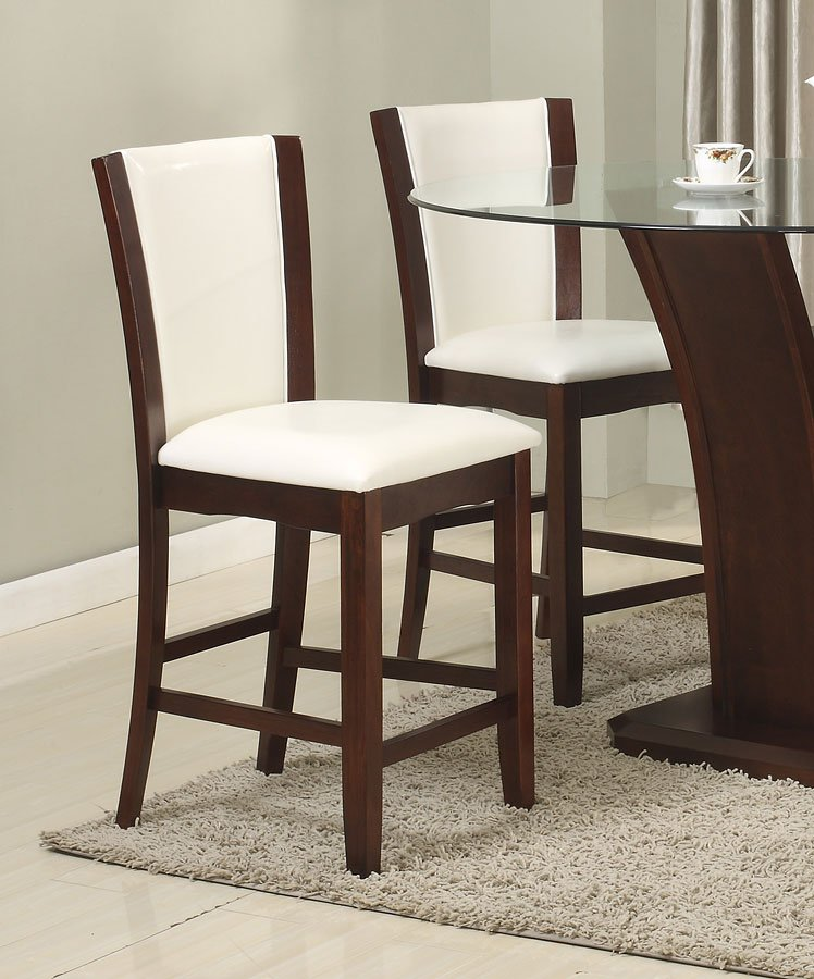Camelia Counter Height Dining Set W White Chairs Crown