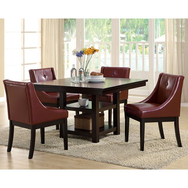 Burgundy Dining Room: 174 Series Square Dining Room Set W/ Burgundy Chairs