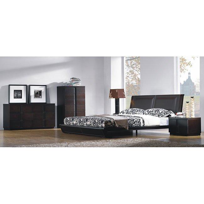 Jenny Platform Bedroom Set (Chocolate)