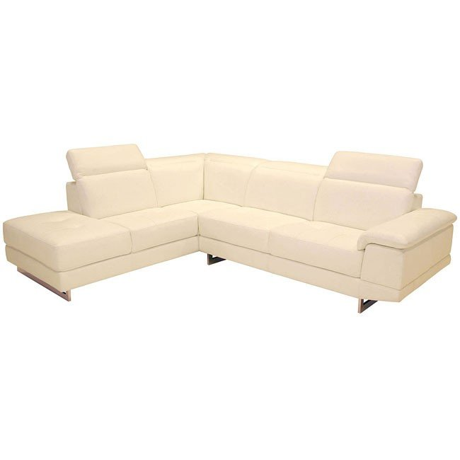 2071 Italian Leather Left Facing Sectional (Beige)