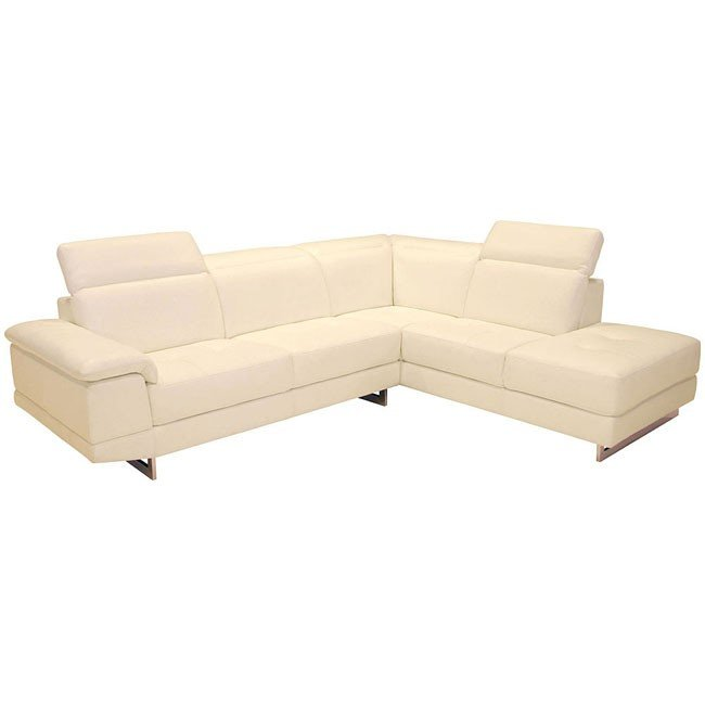2071 Italian Leather Right Facing Sectional (Beige)