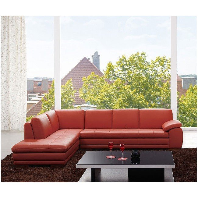 625 Left Facing Italian Leather Sectional (Pumpkin)