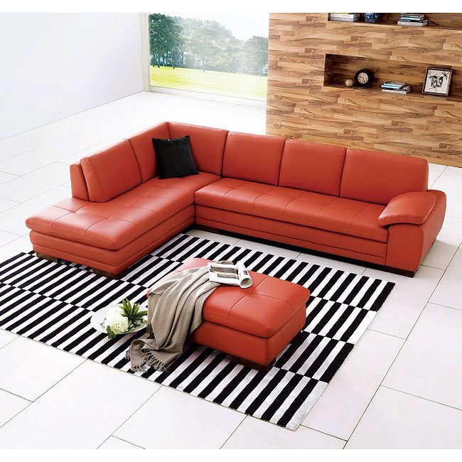 625 Italian Leather Sectional Set (Pumpkin)