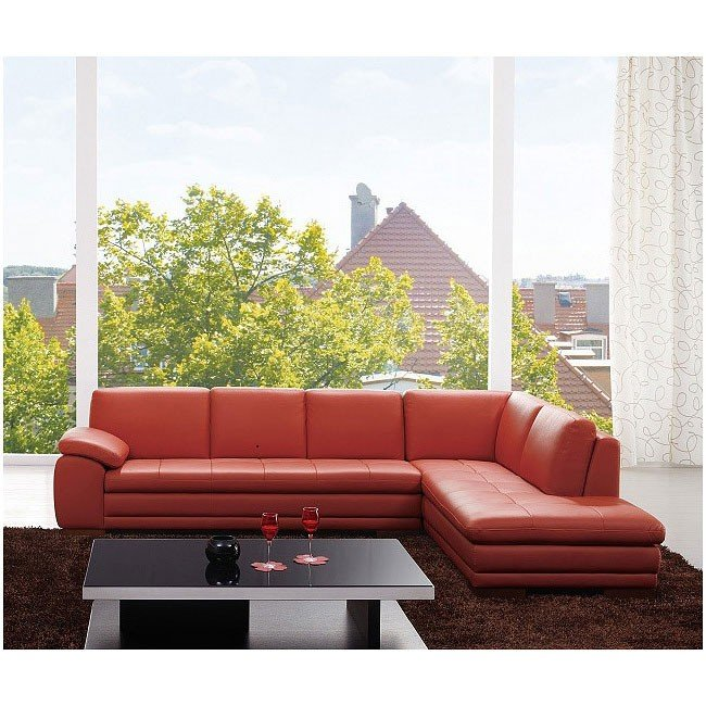 625 Right Facing Italian Leather Sectional (Pumpkin)