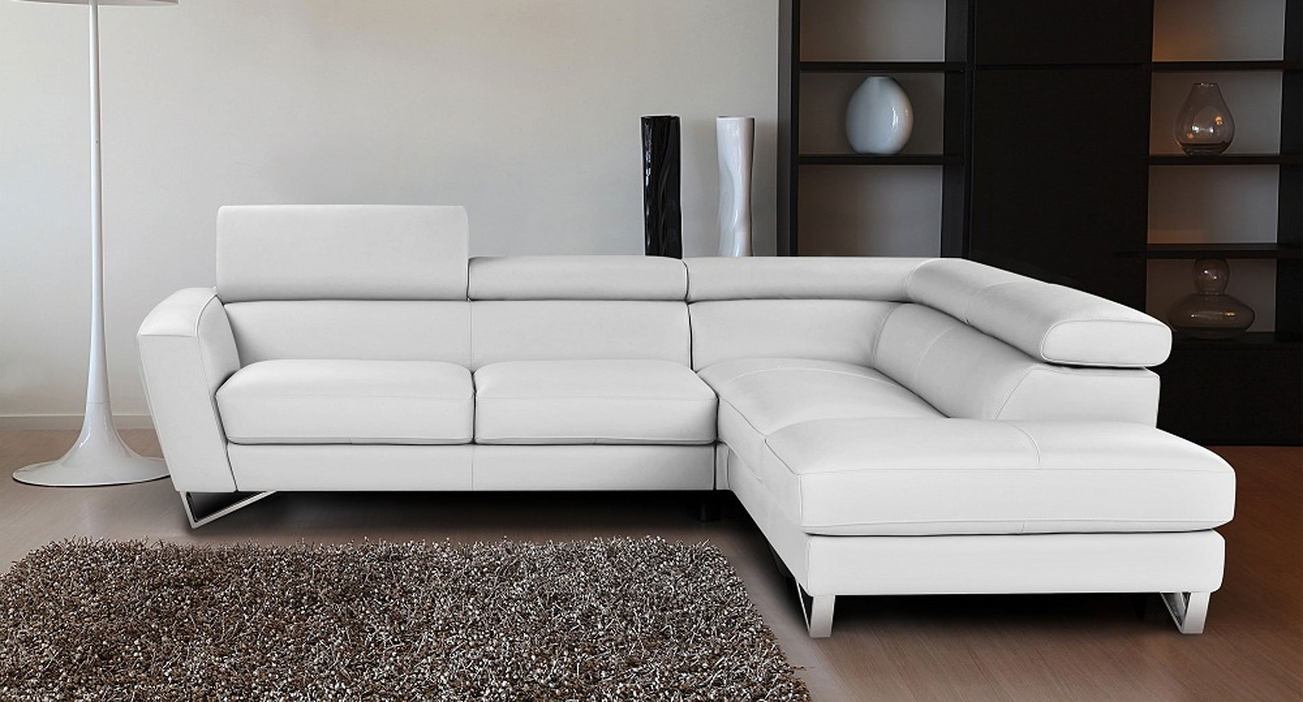 Sparta Leather Right Chaise Sectional (White) JM Furniture ... on Sparta Outdoor Living id=12599