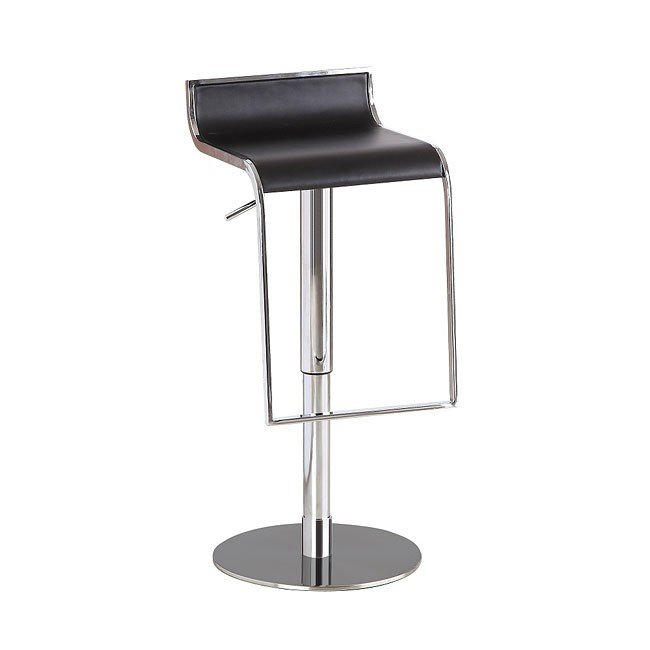 C027B-3 Leather Barstool (Black)