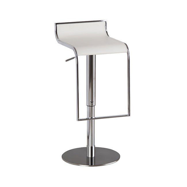 C027B-3 Leather Barstool (White)