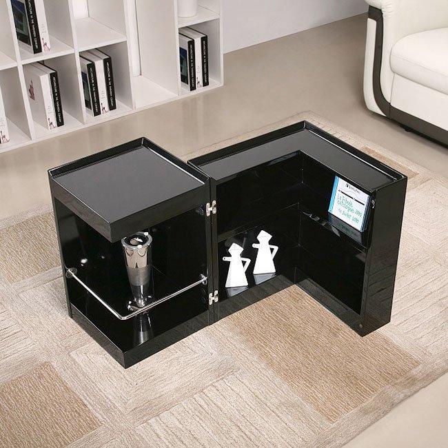 P205B End Table w/ Mini Bar (Black)