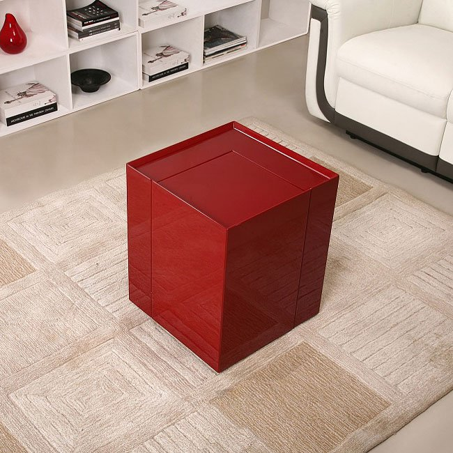 P205B End Table w/ Mini Bar (Red)