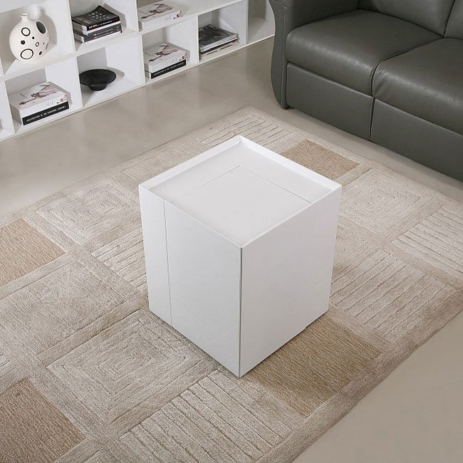 P205B End Table w/ Mini Bar (White)