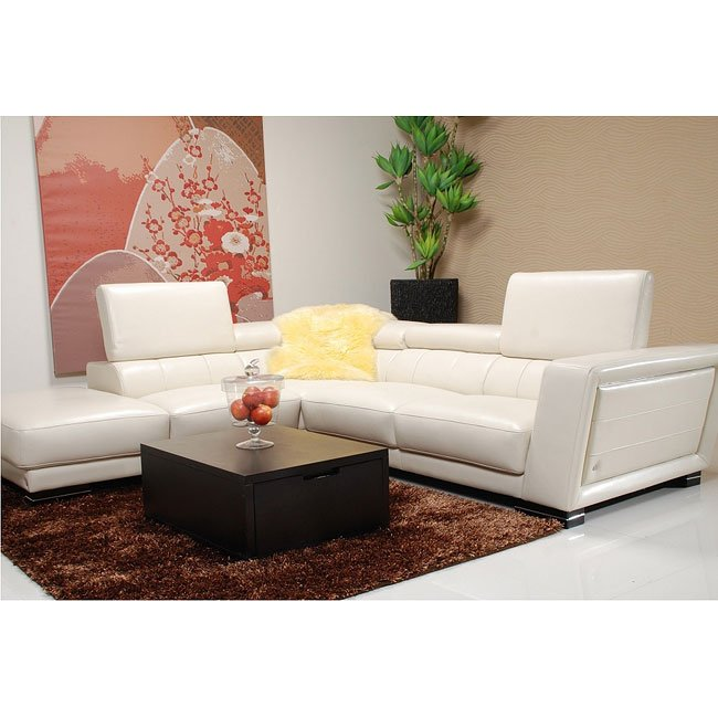 5166 White Left Chaise Sectional