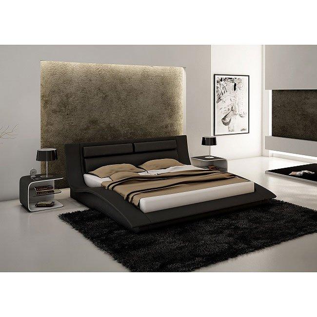 Wave Platform Bedroom Set (Black)