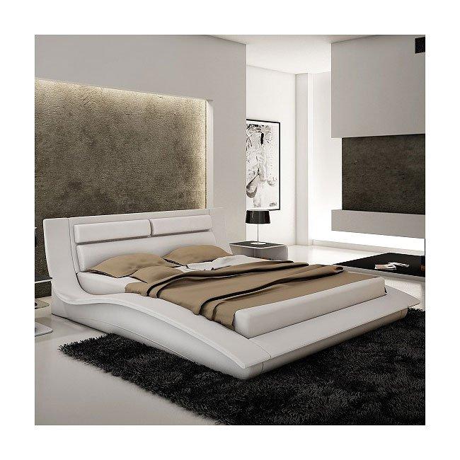 Wave Platform Bed (White)