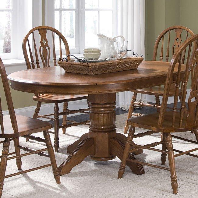 Old World Pedestal Dining Room Set W/ Windsor Chairs
