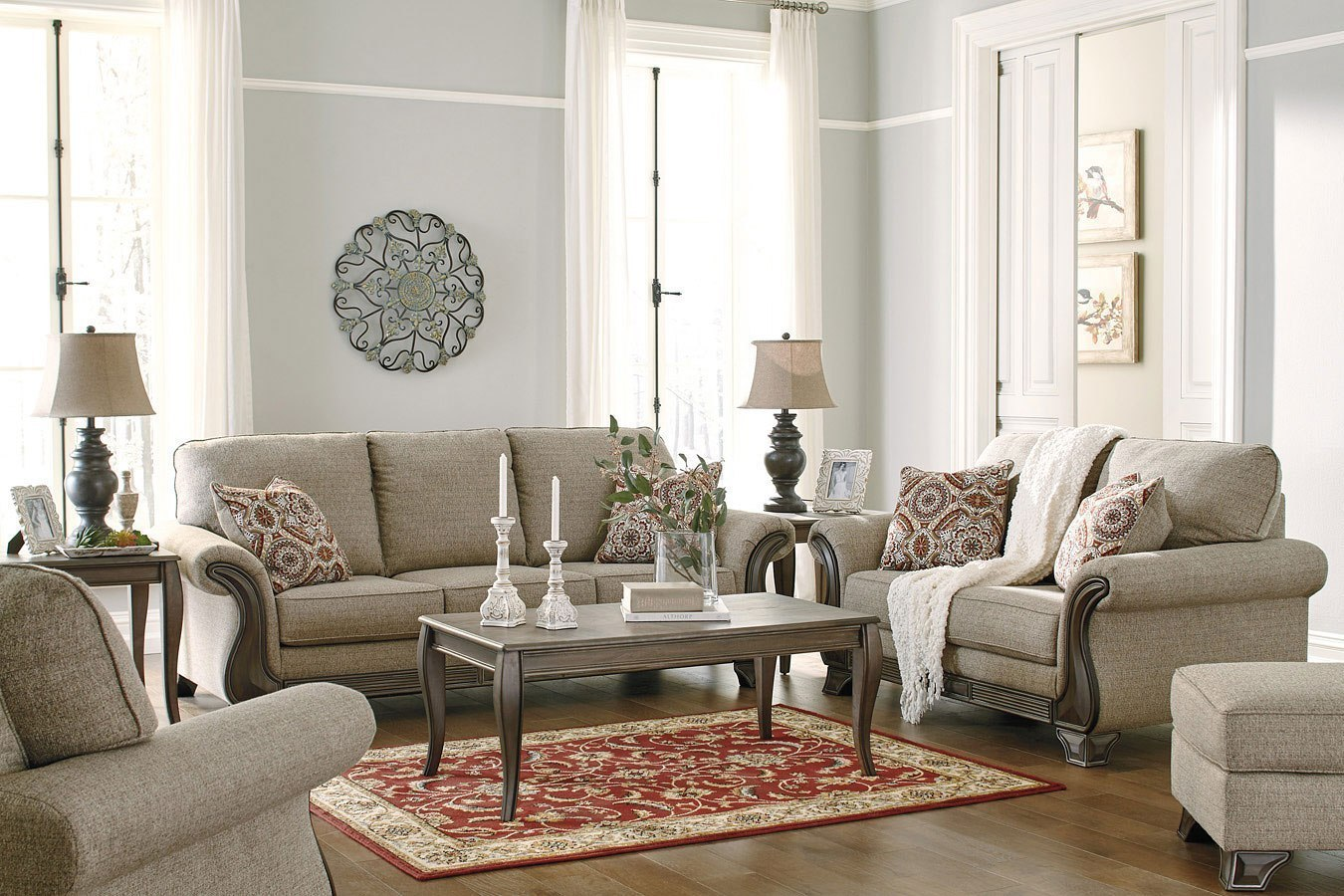 Claremorris Fog Living Room Set BenchCraft   Furniture Cart
