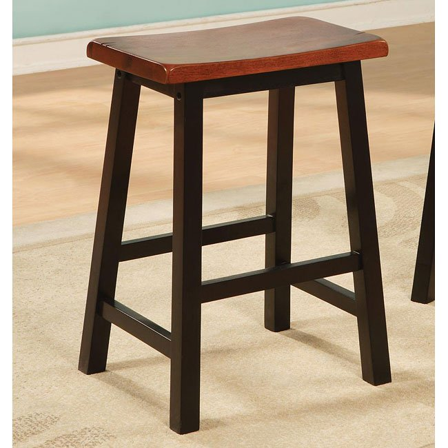 Geneva 24 Inch Barstool (Walnut/Black) (Set of 2)