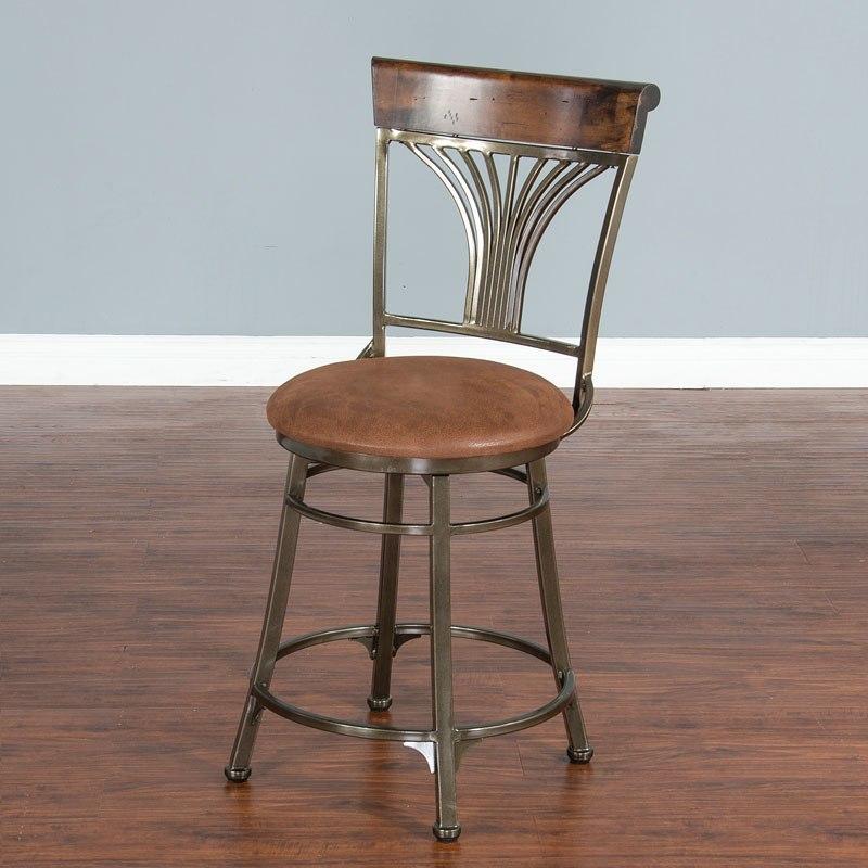 London 24 Inch Metal Swivel Barstool Sunny Designs Furniture Cart