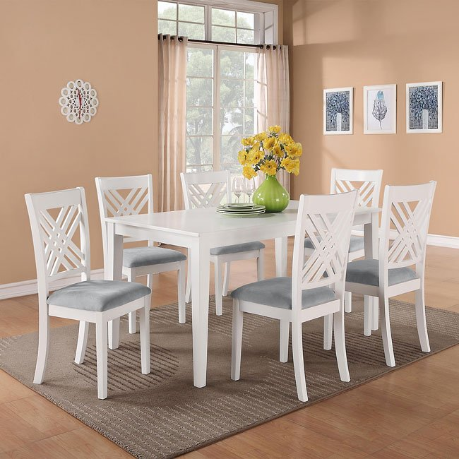 7 Piece Dining Room Set: Brooklyn White 7-Piece Dining Room Set Standard Furniture