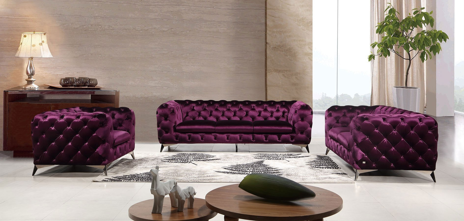 Glitz Living Room Set (Purple) JM Furniture