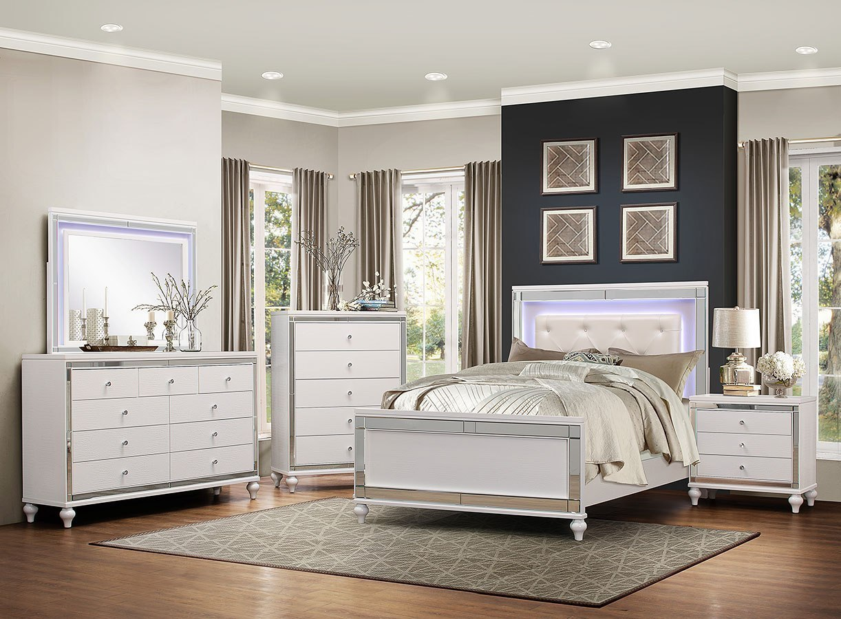 Alonza Panel Bedroom Set W Led Lighting Homelegance Furniture Cart
