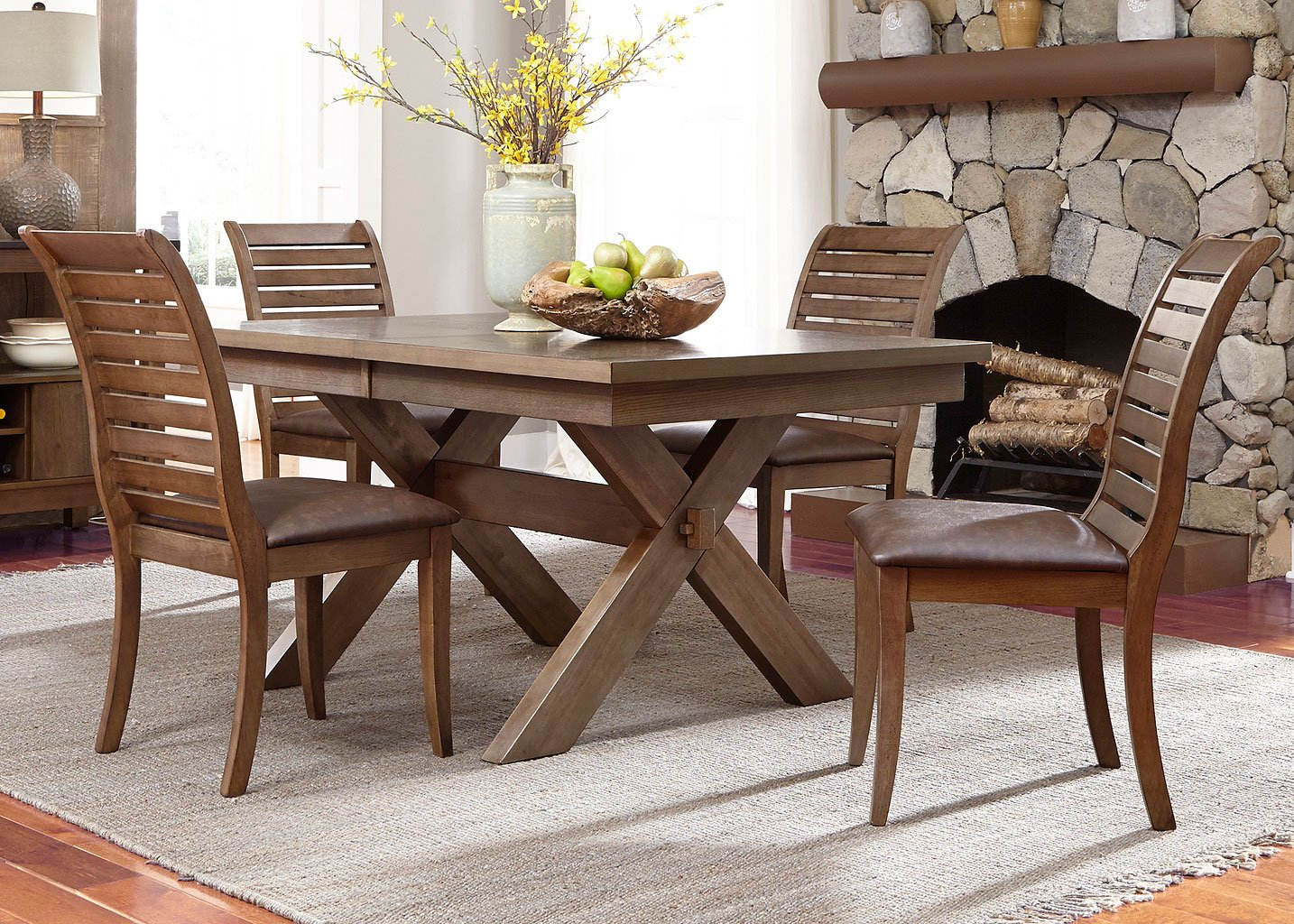 Bayside Square To Round Dining Table: Bayside Crossing Rectangular Dining Set W/ Upholstered