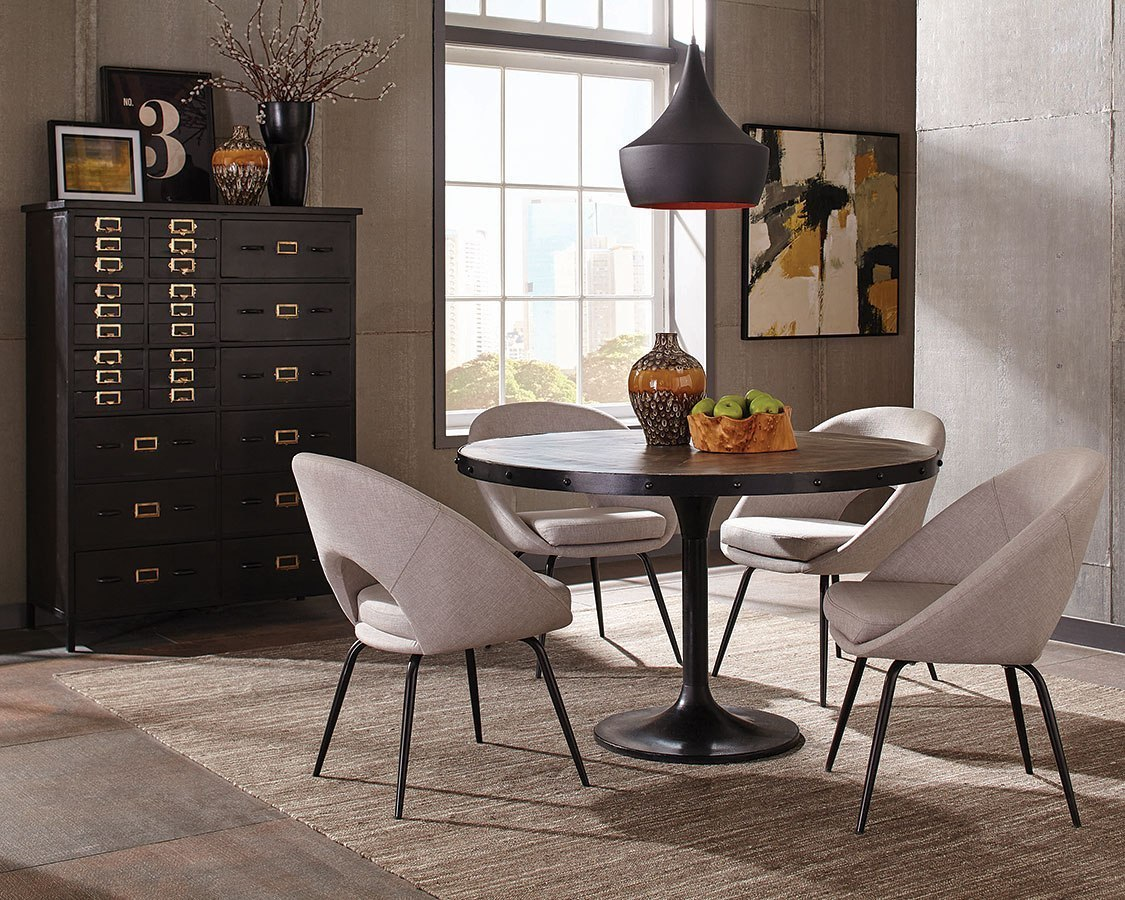 Mayberry Dining Room Set W Linen Chairs Coaster Furniture