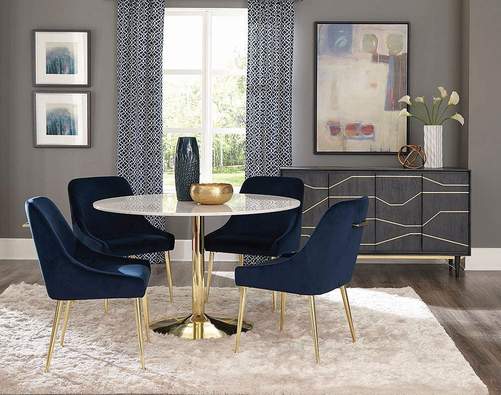 Dark Ink Blue Chairs Coaster Furniture