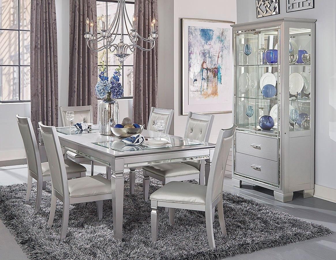 Allura Dining Room Set Silver Homelegance Furniture Cart