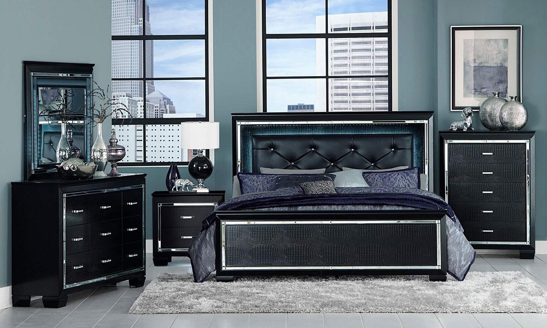 Allura Panel Bedroom Set w/ Lighting (Black)