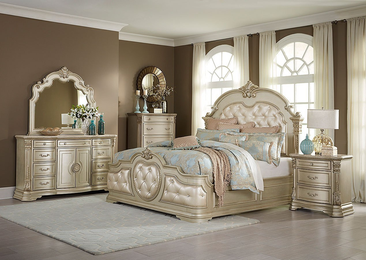 Antoinetta Panel Bedroom Set Champagne Homelegance Furniture Cart